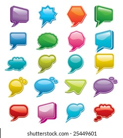 Bright colored, glossy web chat boxes.