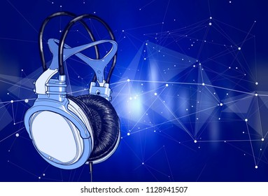 Bright colored headphones on a blue background with a stylized digital sound wave. Bright atmosphere of music, disco, concert & fun pastime. Vector illustration for an advertising poster or flyer