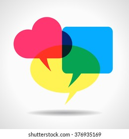 Bright colored overlapping speech bubbles. This work - eps10 vector file, contain transparent elements