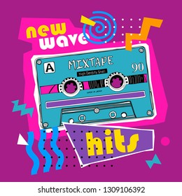 Bright colored poster in a Zine Culture style. Vintage audio cassette for portable boombox. New wave hits– lettering quote. Humor t-shirt composition, hand drawn style print. Vector illustration.