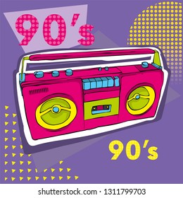 Bright colored poster in a Zine Culture style. Vintage Recording equipment, boombox. T-shirt composition, hand drawn style print. Radio. Vector illustration.