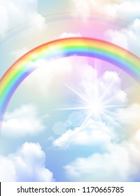 Bright colored rainbow clouds and sky realistic composition vector illustration