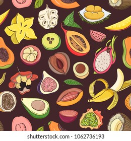 Bright colored seamless pattern with edible fresh juicy exotic tropical fruits on dark background. Backdrop with tasty sweet veggie food. Vector illustration for fabric print, wrapping paper.