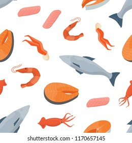 Bright colored seamless pattern with fish, salmon steaks, shrimps, squids and other types of seafood on white background. Backdrop with wholesome sea products. Flat cartoon vector illustration.