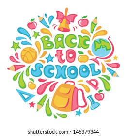 Bright colored vector illustration on school theme