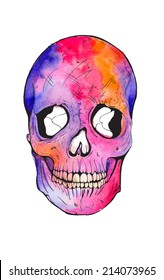 bright colored watercolor voodoo skull tattoo print