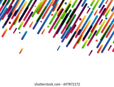 Bright colorful abstract banner line and dot on white. Vector paper illustration.
