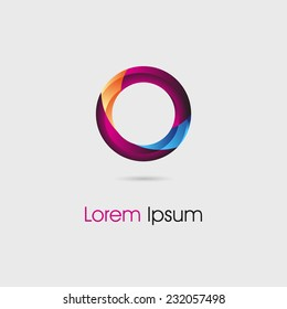 Bright and colorful abstract circle shaped design element. Can be used as a logo or symbol or sign for web design