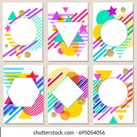 Bright colorful abstract vector backgrounds. 80s retro minimalistic style illustrations