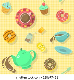 Bright colorful attractive seamless pattern with tea cups, strainer, donuts, cakes and saucer for a fun tea party background in modern flat style