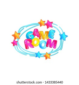 Bright colorful banner for childrens game room with cartoon letters and stars vector illustration isolated on white background. Advert of kids play zone or playground.