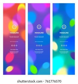 Bright Colorful Banners with Bokeh Lights. Abstract Blurred Texture for Parties, Celebrations and Carnivals. Rainbow Colored Banner Design.
