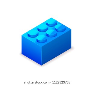 Bright colorful blue toy brick in isometric view isolated on white