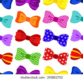 Bright and colorful bow seamless pattern on white background, vector illustration