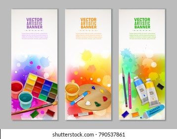 Bright colorful collection of vertical artistic banners with watercolor gouache and pastel paints brush marker and pencil vector illustration