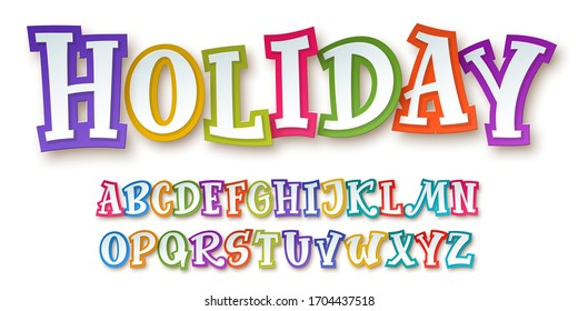 Bright and colorful comic children's paper-cut alphabet with 3d effect isolated on white background. Trendy font for festive decorative design. Vector illustration