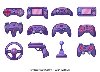Bright colorful computer joysticks flat pictures set. Cartoon video game controllers for playing device isolated vector illustration collection. Gaming and entertainment concept