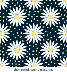 Bright colorful daisy flowers on a dark blue background. Seamless pattern. Vector graphic drawing. Texture.