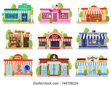 Bright colorful facades of six stores and cafes isolated on white background flat vector illustration