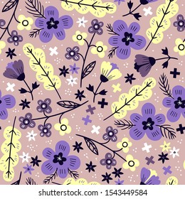 bright and colorful fantasy blooms. vector floral seamless pattern with violet flowers and abstract  yellow leaves