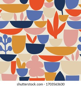 Bright colorful geometry seamless pattern. Vector abstract colored blocks shapes on light background. Potted flowers fabric design.