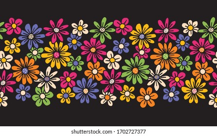 Bright Colorful Hand Drawn Felt Tip Pen Daisies on Dark Background Floral Vector Seamless Horiozontal Pattern Border. Orange Pink Yellow Flowers Design. Bold Large Vintage Blooms Fashion, Textile