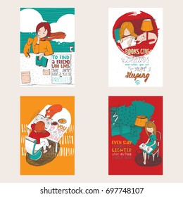 Bright colorful hand drawn posters dedicated to love with books. Girl and cat reading books, creative lettering in vertical composition. Vector illustration.