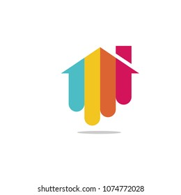 Bright colorful house logo vector,  Creative vector logo for real estate and home decor