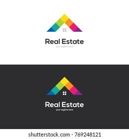 Bright colorful house roof symbol in rainbow colors. Creative vector logo for real estate, home decor, art school, kids zone or preschool design concept.