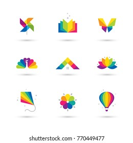 Bright colorful icons set with book, windmill toy, butterfly, peacock, house roof, lotus flower, kite and air balloon isolated on white background. Children, kids creative logo design.
