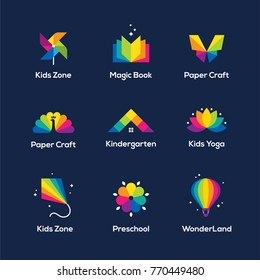 Bright colorful icons set with book, windmill toy, butterfly, peacock, house roof, lotus flower, kite and air balloon isolated on dark blue background. Children, kids creative logo design.
