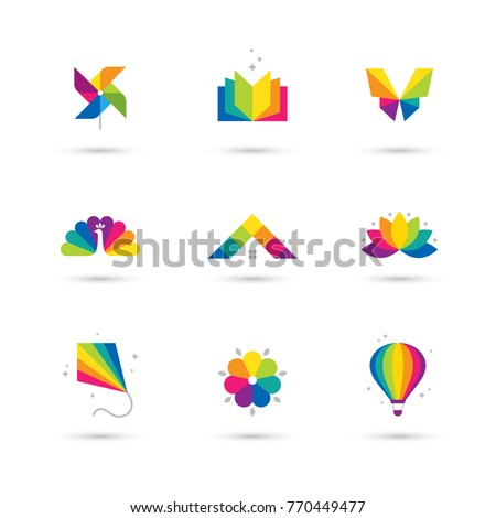 Bright colorful icons set book windmill stock vector royalty free bright colorful icons set with book windmill toy butterfly peacock house roof mightylinksfo