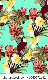 Bright colorful jungle pattern with tropical plants and birds. Beautiful pattern with toucans and exotic flowers and leaves. Summer background with wild plants and birds in Hawaii style.