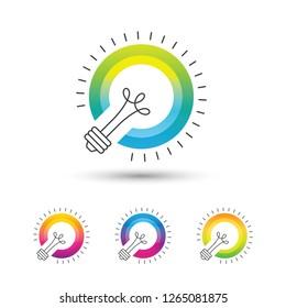 Bright colorful light bulb logo set on white background. Creative idea icon.