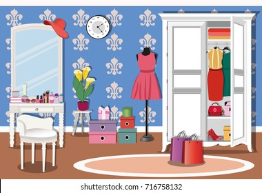 Bright colorful living room interior design with wardrobe, console mirror, chair and mannequin. Stylish women's clothing, shoes, cosmetics and boxes. Flat style vector illustration.