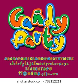 Bright colorful logo with text Candy Party. Hand written vector Alphabet letters, Numbers and Punctuation Symbols