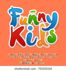Bright colorful logo with text Funny Kids. Hand written vector Alphabet letters, Numbers and Punctuation Symbols