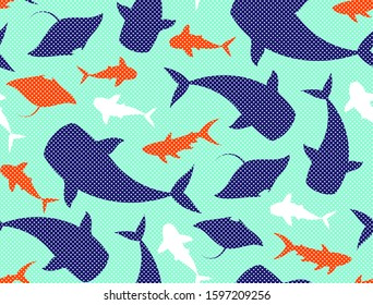 Bright colorful marine ocean animals background. Manta, eagle ray, whale sharks, shark species graphic illustration. Vector seamless polka dots trendy pop art style pattern.