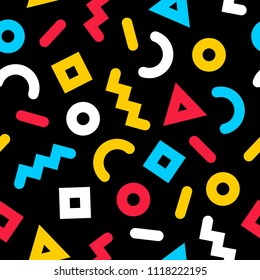 Bright, colorful memphis style pattern from simple geometric forms and simple colors. On black background.