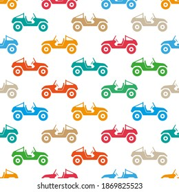 Bright colorful multicolored cars buggy isolated on white background. Cute seamless pattern. Side view. Vector flat graphic illustration. Texture.