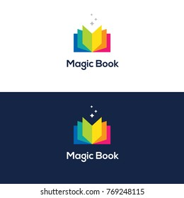 Bright colorful open book logo in rainbow colors. Vector icon. Education symbol.