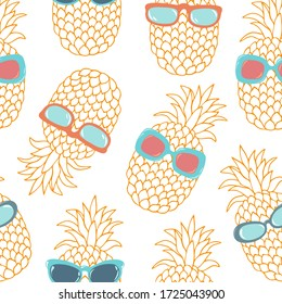 Bright colorful outline pineapple seamless vector pattern for wallpaper, textile, interior design, typography.