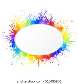 Bright and colorful paint splashes frame with oval cutout for text  on white background. Vector illustration.