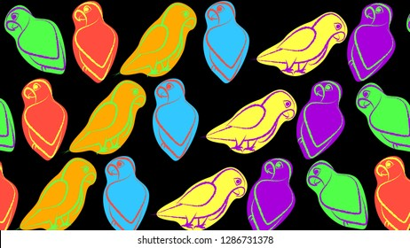 Bright Colorful Parrot Bird Background. Bird drawing pattern. Jungle animal repetition art. Artsy design. Neon 1980s pattern vector.