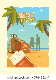 Bright, colorful poster to advertise travel packages to sea. Leisure for older people. Vector illustration. Sea, palm, sand, beach, summer, tickets, ticket, passport, suitcase, camera, people.