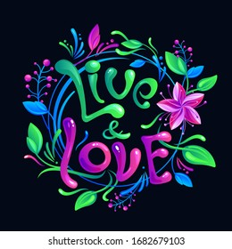 Bright colorful poster with floral tune and hand drawn lettering