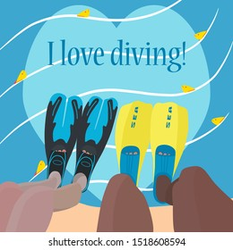 Bright colorful poster with the inscription: I love diving! Male and female legs in flippers are immersed in water, where fish swim. Advertising concept scuba diving. International diver's day. Vector