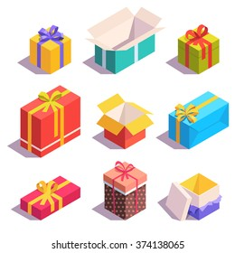 Bright, colorful present and gift boxes with ribbon bows. Flat isometric illustration on white background.