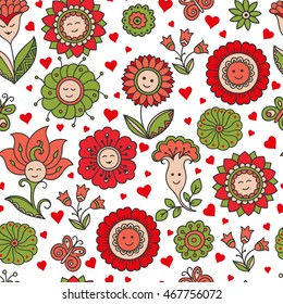 Bright colorful seamless floral pattern - background for wallpaper and fabric.