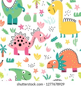 Bright, colorful seamless pattern with cute cartoon dinosaurs and plants on a white background. Illustration for children in vector.